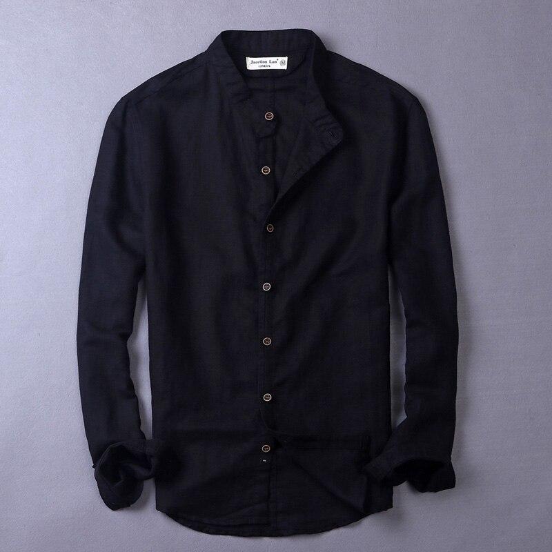 Chinese Collar Summer Shirt Men Long Sleeve Casual Men Shirts Brand Solid Shirts Male Italy Style Shirt Mens Slim Chemise Camisa