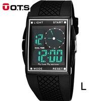 OTS Outdoor Sport Watch Men Relogio Digital LED Watch Luxury Brand 2017 Square Rubber Electronic Wrist