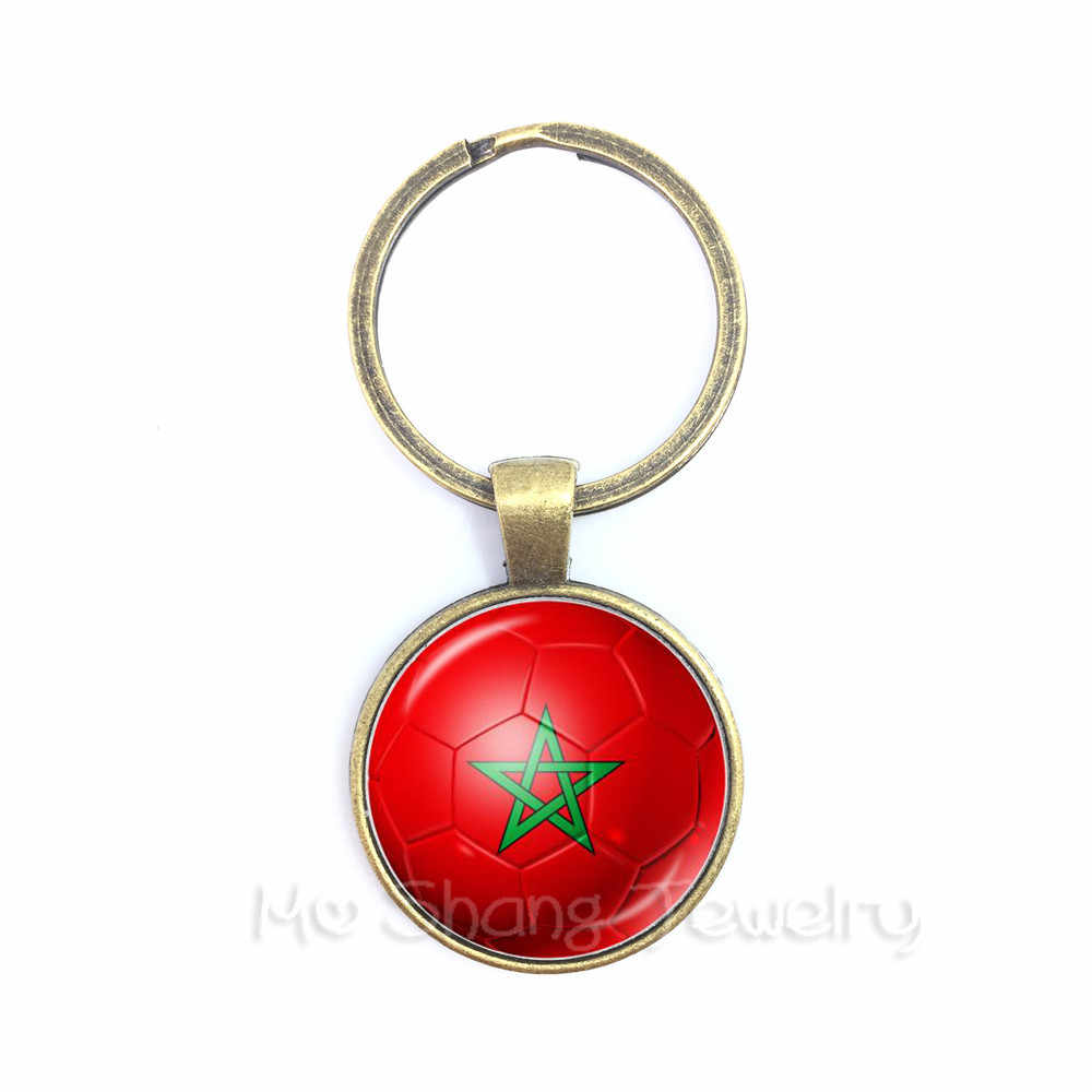 Brazil,Morocco,Peru,Mexico,Croatia,Football Key Chains Soccer Souvenirs Glass Dome Keyring For 2018 Football Cups