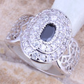 Jolly Black Onyx White CZ Silver Stamped 925 Women's  Ring Size 6 / 7 / 8 / 9  R1315
