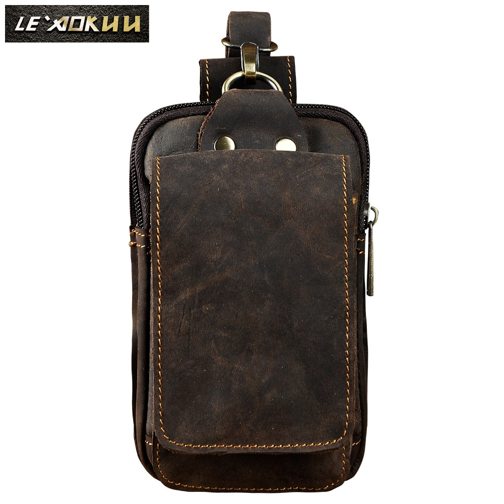 Fashion Real Leather Small Summer Pouch Hook Design Waist Pack Bag Cigarette Case 6 Phone Pouch Waist Belt Bag 1609 elastic waist color block panel pouch design trunk