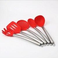 5pcs Per Set Environmental Health Silicone Kitchen Ware Sets With Spoon Soup Ladle Noodle Rake Slice