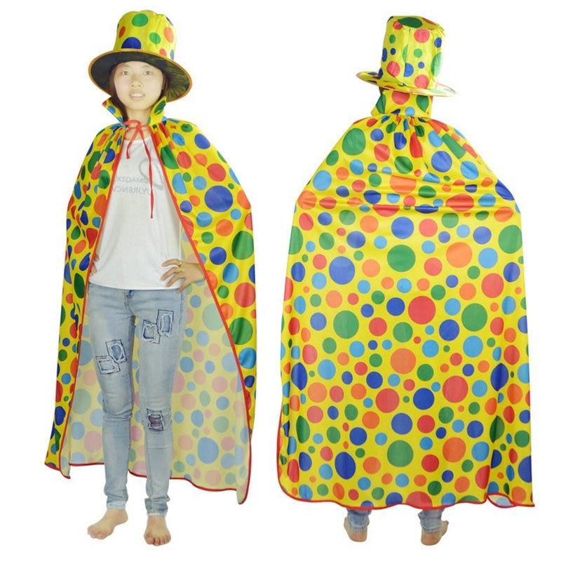 Adult Child Rainbow Dots Cape Clown Cloak + Hat Magic Show Costume Accessory