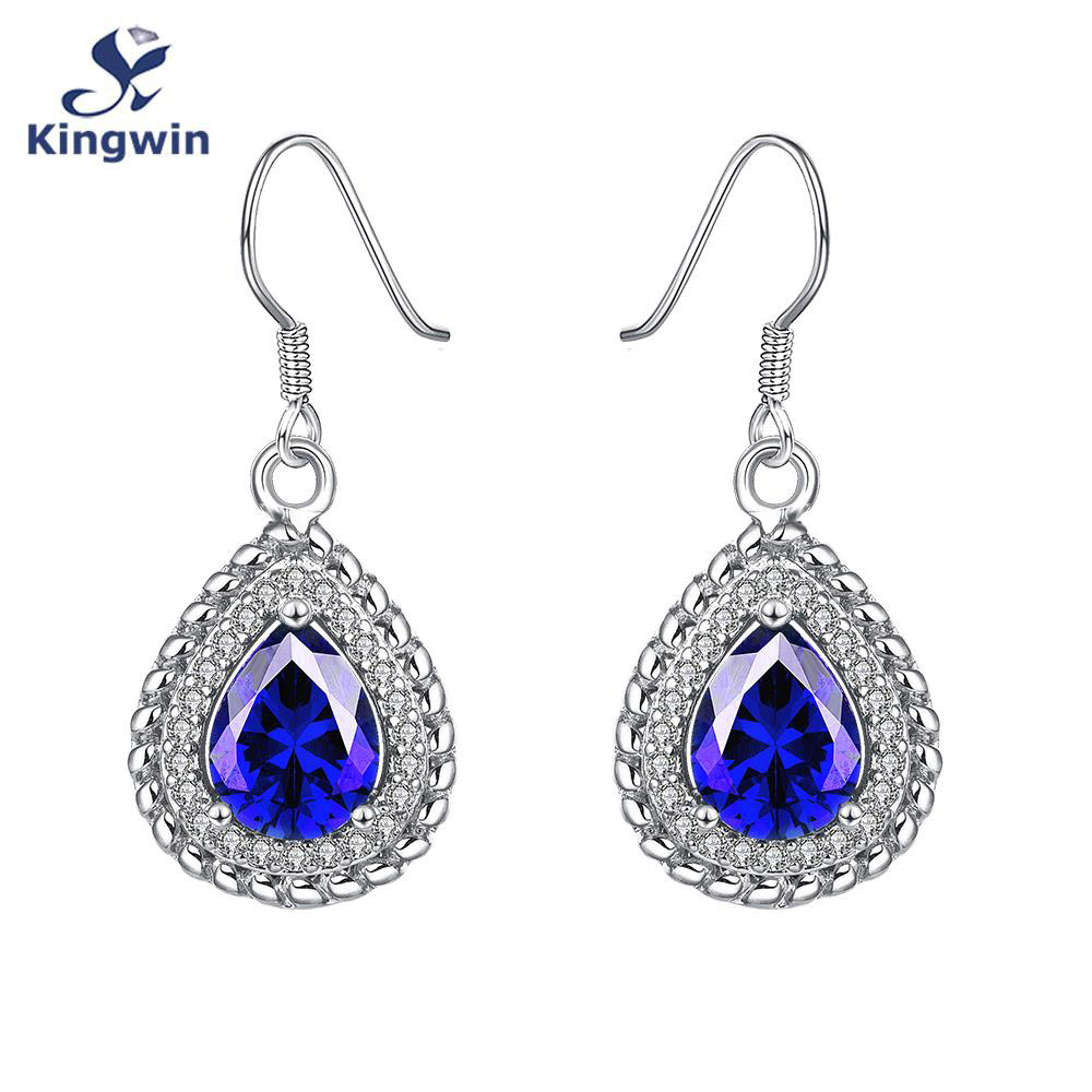 Handcrafted Fine Quality Jewelry Zirconia Synthetic Blue Stone Earring  White Pure Gold Color Dangle Earring Female