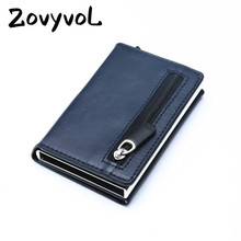 ZOVYVOL Carbon Fiber New RFID Wallet 2019 Antitheft Aluminum Box ID Card Holder PU Leather Pop Up Case Magnet Coin Purse