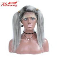 Ali Amazing Hair Ombre Grey Glueless Lace Front Wig with Baby Hair 150% Density T1B Brazilian Lace Front Remy Human Hair Wig