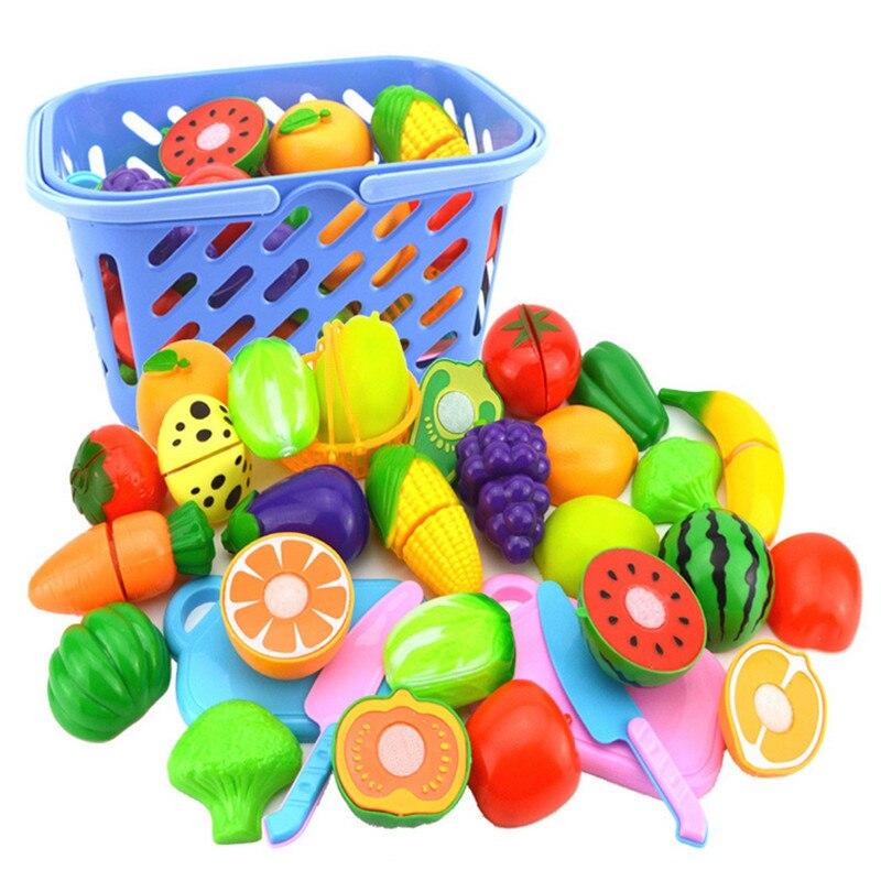 Surwish 23 teile/satz Kunststoff Obst Gemüse Schneiden Spielzeug Frühe Entwicklung und Bildung Spielzeug für Baby-Farbe Zufällig