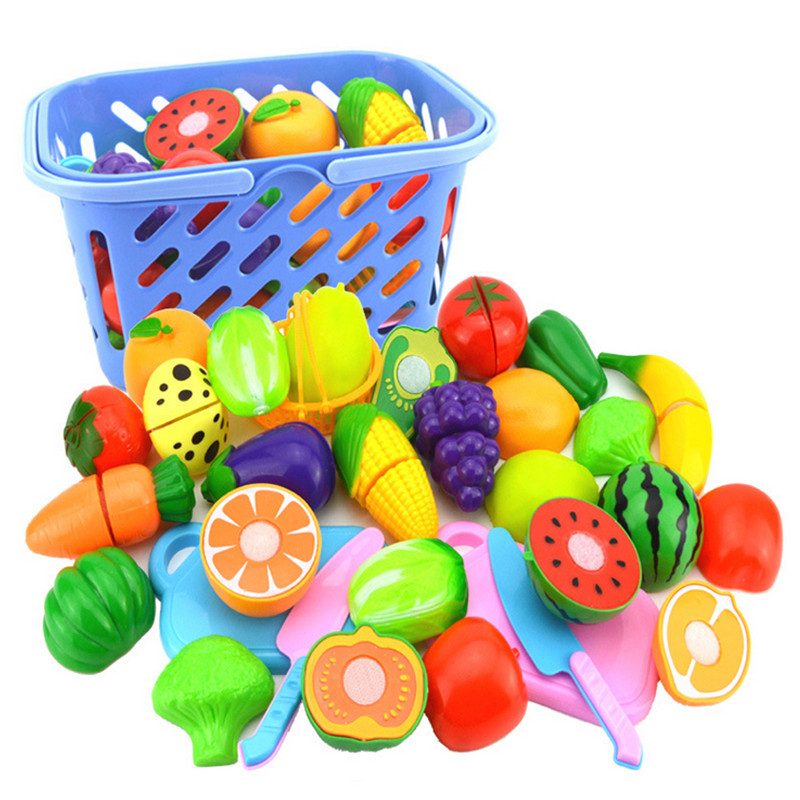 Surwish 23Pcs/Set Plastic Fruit Vegetables Cutting Toy Early Development and Education Toy for Baby - Color Random image