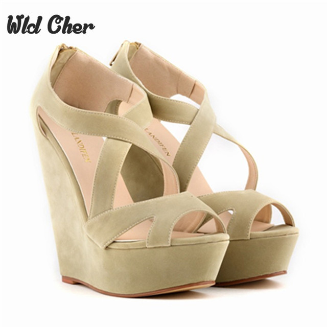 Free Shipping New Fashion Summer Women High Heels Sandals Shoes Wedge Peep  Toe Platforms Roma Cross Lacing Pumps Size 35-42 39d5155f4560