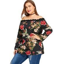 Plus Size 5XL Off The Shoulder Floral Print Blouse Shirt