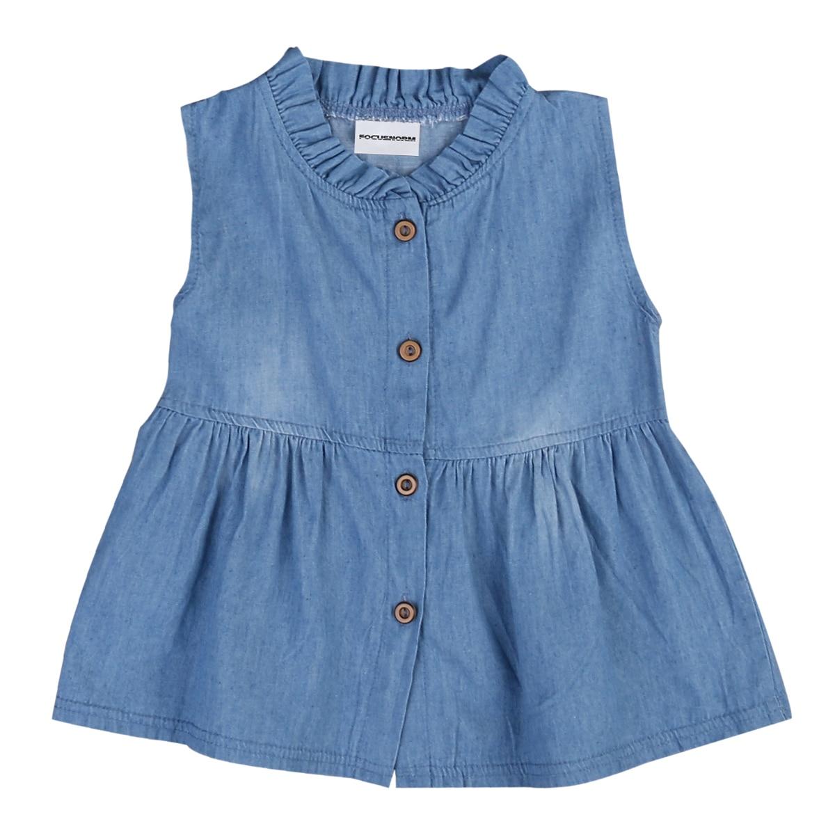 Toddler Kids Girls Baby Sleeveless Denim Dress Cute Single Breasted Princess Dress Denim Tutu Dresses