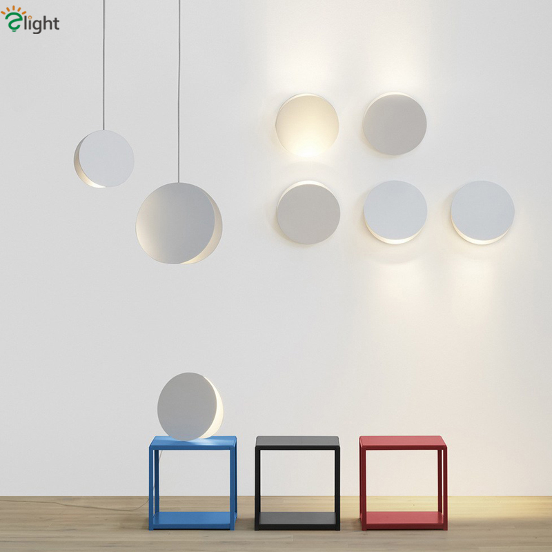 Modern Minimalism Painted Metal Round Led Pendant Light Dia20 / 30cm Nordic Toggery Bedroom Coffee House Metal Suspension Light