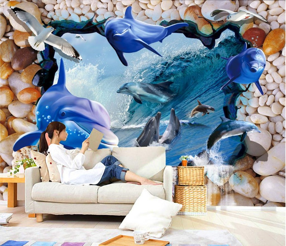 3d murals wallpaper for living room Underwater World Dolphin pebbles sea wallpaper window mural wallpaper