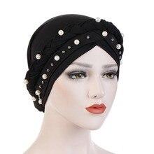 Muslim Women Cross Silk Braid White Pearl Turban Hat Scarf Cancer Chemo Beanie Cap Hijab Headwear Head Wrap Hair Accessories