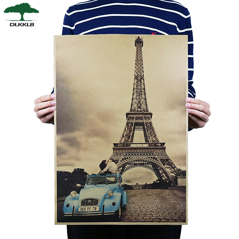 Dlkklb Paris Eiffel Tower Nostalgia Kraft Paper Bar Cafe Poster Retro Poster Decorative Painting Wall Sticker Home Decoration