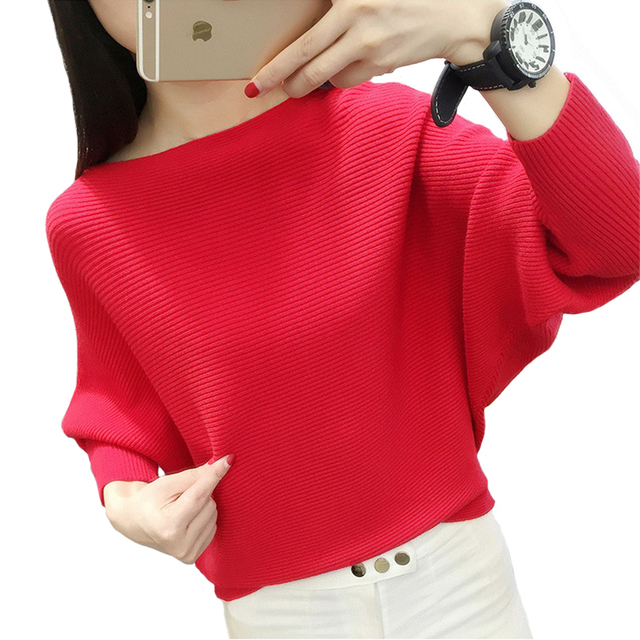 Fashion Casual Bat Shirt 2016 Autumn and Winter New Women's Solid Color Long-sleeved The word collar Pullover Sweater