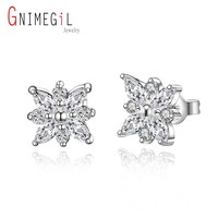 GNIMEGIL Brand Jewelry Women's Stud Earings 10*10 mm Cubic Zirconia Inlaid Silver Star Earrings Charming Gift for Ladies