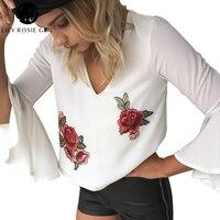 Elegante Decote Em V Profundo Subiu Bordado Floral Blusas Brancas Mulheres Alargamento Da Luva Backless Outono Colheita Top Sexy Partido Das Meninas Blusas