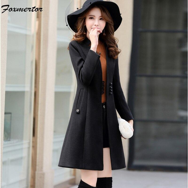 Women Elegant Lady Wool Blend Coat Outerwear 2019 Autumn Winter Single Breasted Long Woolend Jacket Female Outerwear Black Khaki