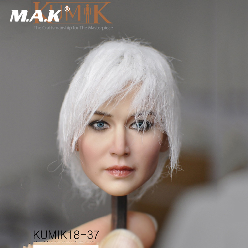 1/6 Kumik Female Head KM18-37 Female Paste Head Sculpt with Pale Hair Figure Model PVC for 12 inches Action Figure Body 1 6 fs010 phoebe agent kristen stewart american ultra movie full sets figure with head sculpt female body shoes jeans model m3n