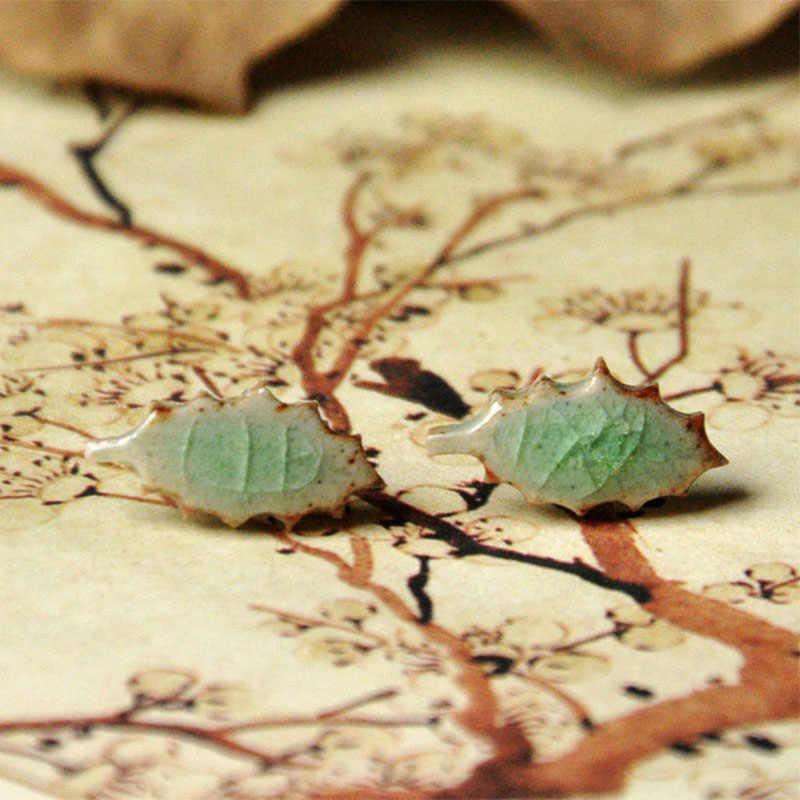 Керамика серьги зеленый лист серьги гвоздики подвеска с Кленовым листом для женщин Мода ретро этнические украшения уха интимные аксессуары Pendientes