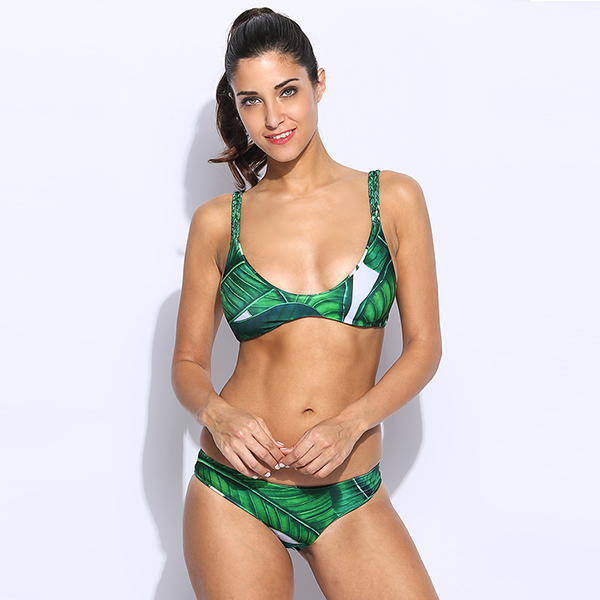 3329d65c5441 € 6.29 45% de DESCUENTO|2017 mujeres del traje de baño sexy micro bikinis  set bikini brasileño traje de baño de la hoja de impresión traje de ...