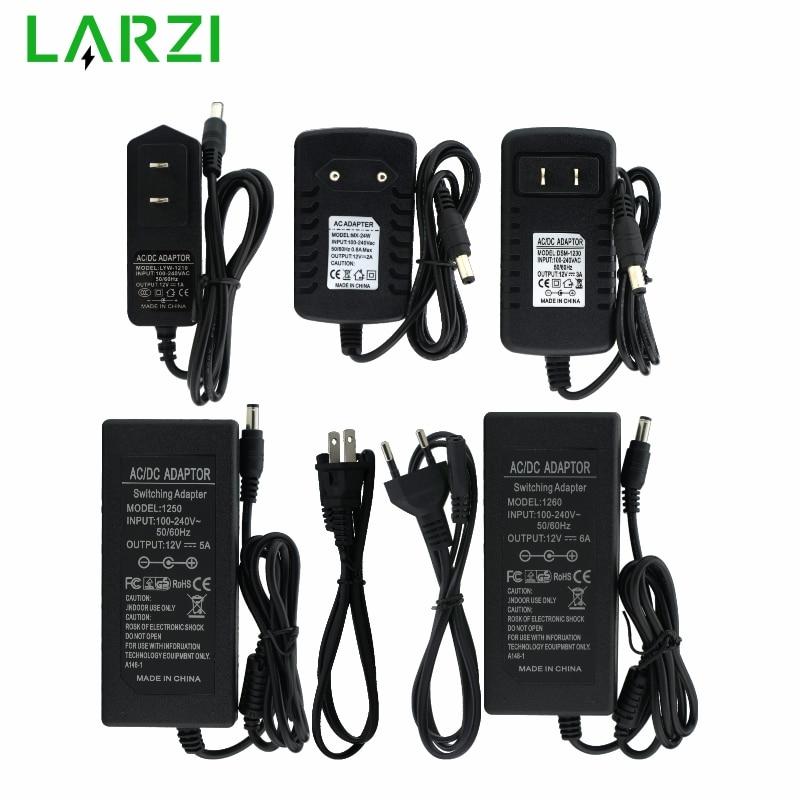 LARZI AC 100 в-240 в к DC 12 В 1A 2A 3A 5A 6A трансформаторы питания адаптер конвертер зарядное устройство для светодиодной полосы света