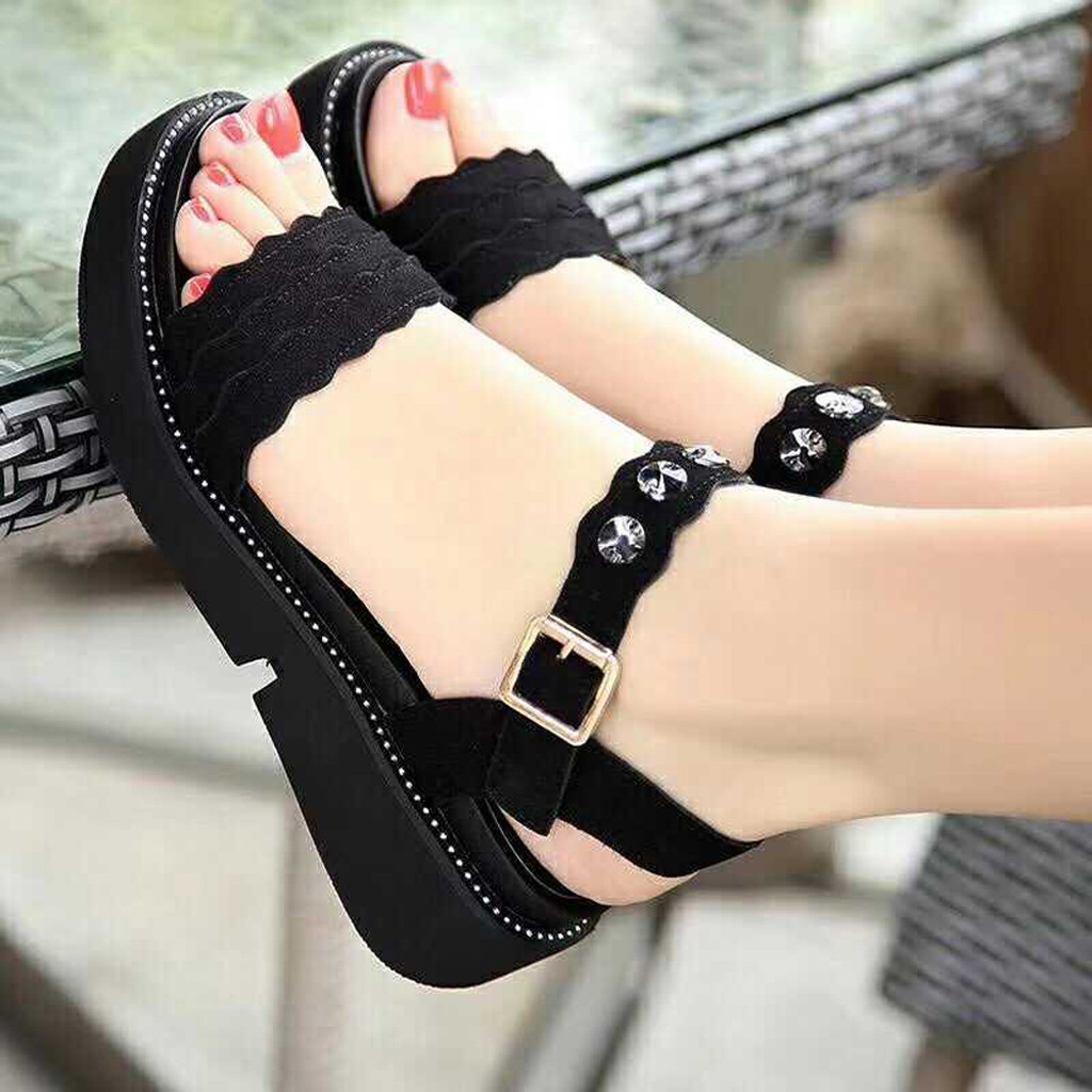 Summer Sandals Women Black Roman Women's Open Toe Shoes Rhinestone Flat Sandals Bohemia Fish Mouth Comfortable Beach Sandals#G30