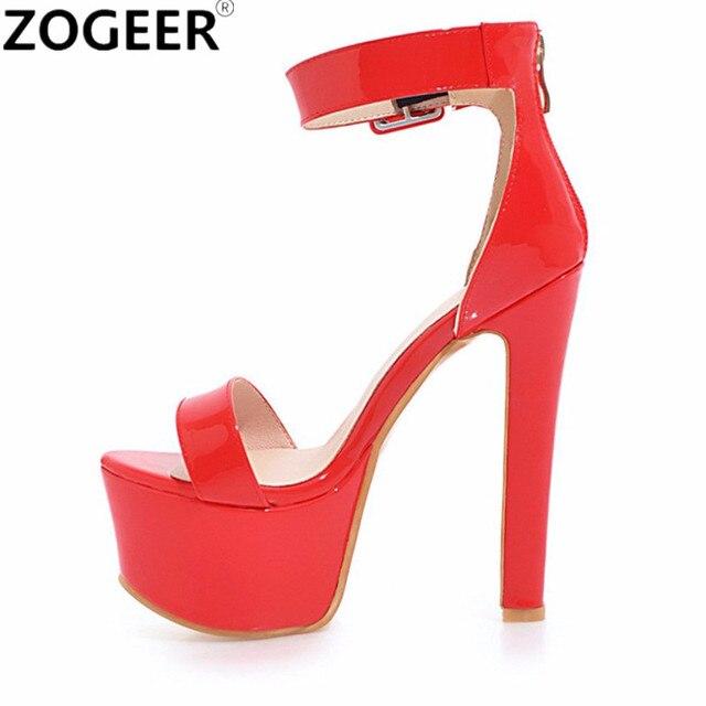 c4246da2d6f7e Plus Size 48 Summer Fashion Women Sandals Sexy Extreme High Heels 16CM Sandal  Platform Ankle Straps Party Wedding Shoes Woman