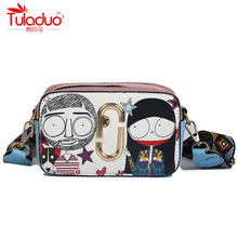 hot deal buy cartoon printing women shoulder bags characters women crossbody bags pu leather ladies messenger bag famous brand chains bags