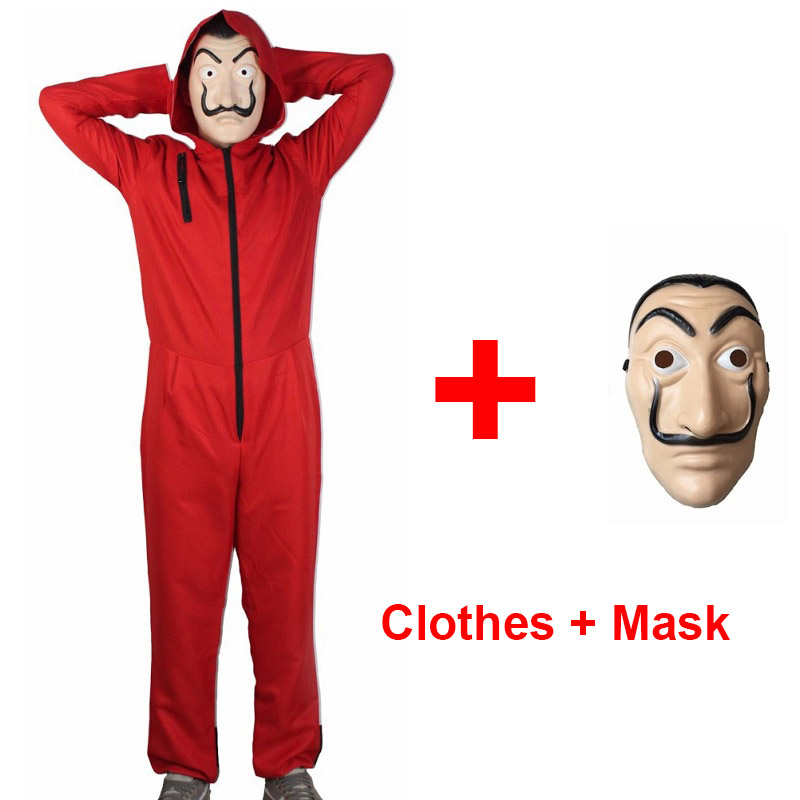 Money Heist Salvador Dali Cosplay Costume with Mask for Adult Children La Casa De Papel Kids Adult Halloween Costume + Face Mask