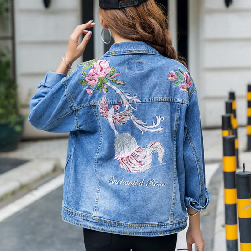 font b Women b font Flowers Embroidered Leisure Denim Coat 2017 Autumn Winter New Female