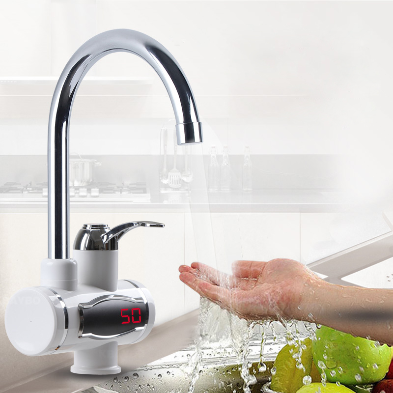 Instant Tankless Electric Hot Water Heater Faucet Kitchen  Electrical Faucet With LED Temperature Display 3000W