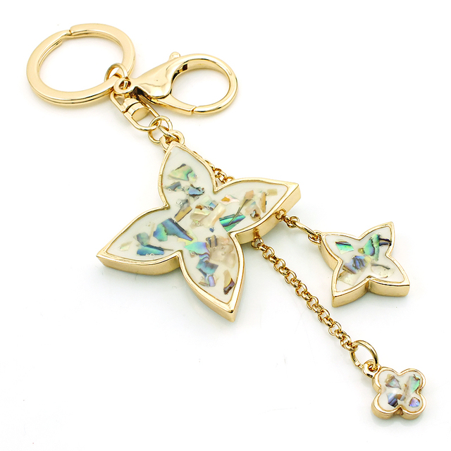 JINGLANG Brand New Fashion Plating Gold Metal Lobster Clasp Keyrings Clover Charms Women ...