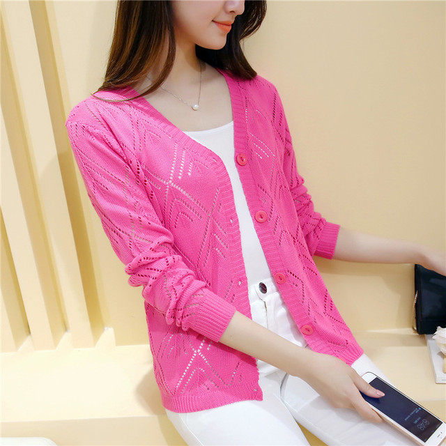 18 new women's Korean long sleeved knit cardigan collar hollow V simple air conditioning shirt female coat F1844 3