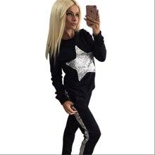 2016 Осень зимние костьюмы женские спортивные костюмы набор 2-шт (толстовки + Брюки) серебряная звезда рисунок длинный рукав Костюм Женщин Костюм Комплекты для женщин