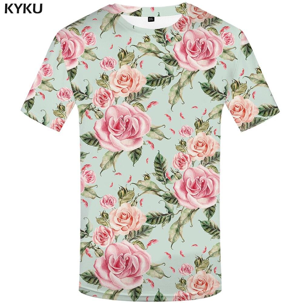 KYKU Brand Flower T Shirt Women Pink Tshirt Sexy 3d T-Shirt Rock Rock Clothes Hip Hop Tee Floral Womans Clothing 2019 New Summer