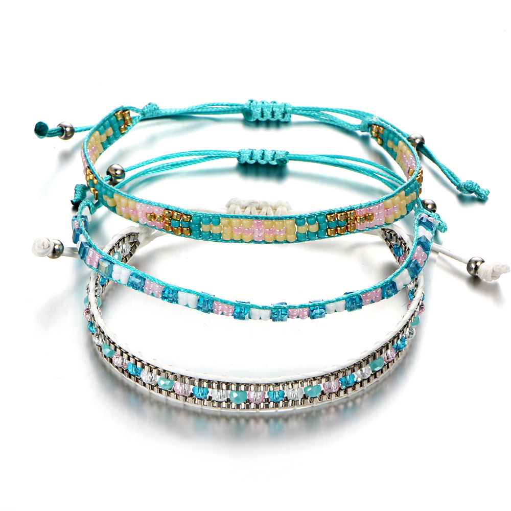 Us 1 27 40 Off 17km Bohemia Beads Weave Rope Friendship Bracelets For Woman Men Cotton Handmade Charm Bracelet Bangles Ethnic Jewelry Gifts In