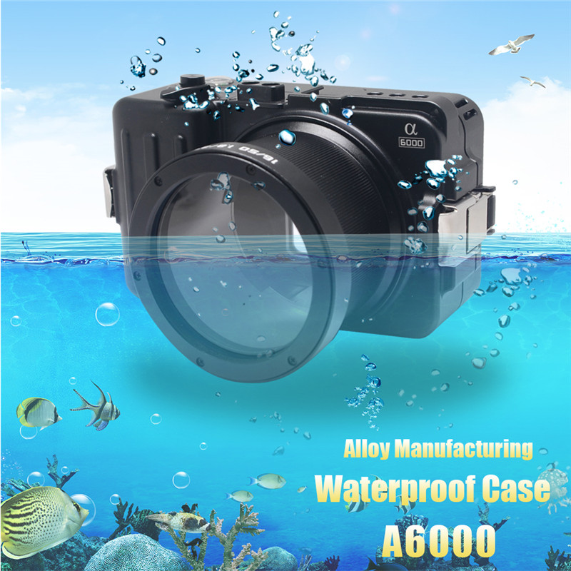 Mcoplus Waterproof Case for Sony A6000 Camera 100M/325ft Alloy Manufacturing Underwater Camera Diving Housing Bag mcoplus for sony a7ii a7 mark ii camera waterproof case 100m 325ft alloy manufacturing underwater camera diving housing bag