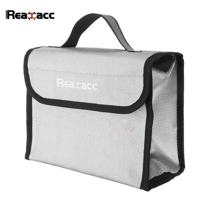 215*155*115mm Realacc Fire Retardant Rechargeable LiPo Battery Pack Portable Safety Bag Soft Carring Handbag Suitcase Grey realacc fire retardant lipo battery bag 220x155x115mm with handle
