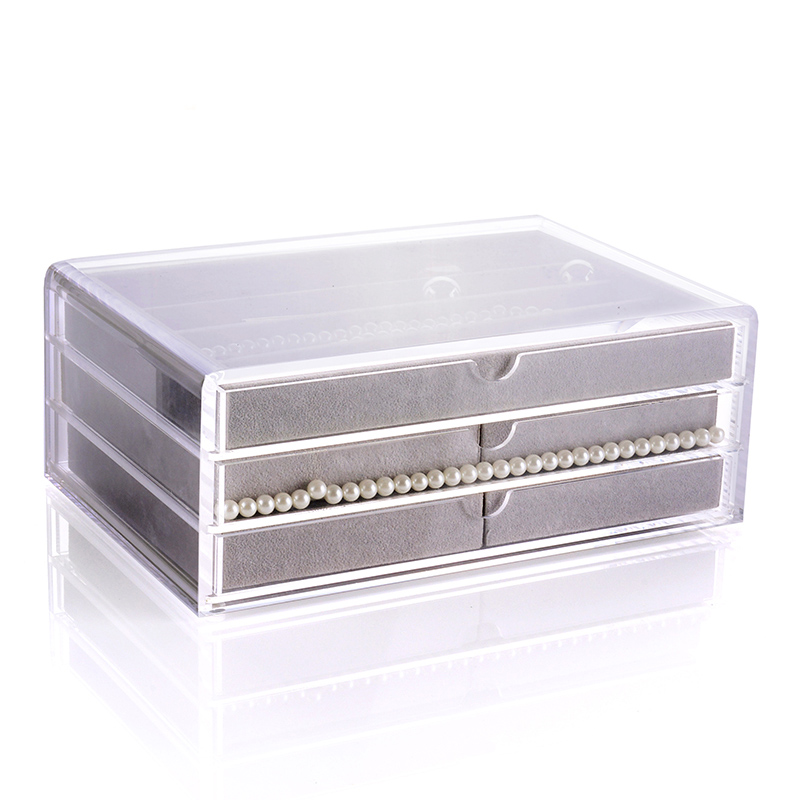 DIY Acrylic jewelry drawers box storage ring necklace earrings