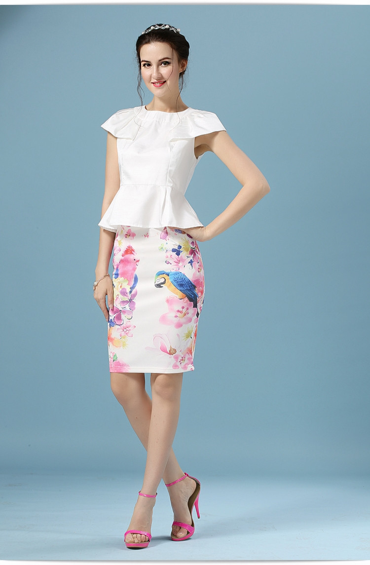 Elegant Office Pencil White Floral Bird Print High Waisted Skirt 4