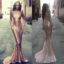 Mermaid High Neck Long Sleeve Open Back Gold Sequin Evening Gown 2015
