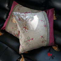 Freeshpping Pillow Case New Purple Magnolia Embroidery Wedding Room Sofa Chair Bedding Hotel Decorative Cushion Cover Pillowslip