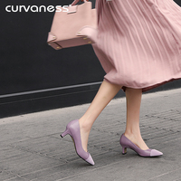 Curvaness 2018 New Women Elegant Luxury Design 5cm High Heels Pumps Lady Pointed Toe Green Scarpins Heels Female Patchwork Shoes