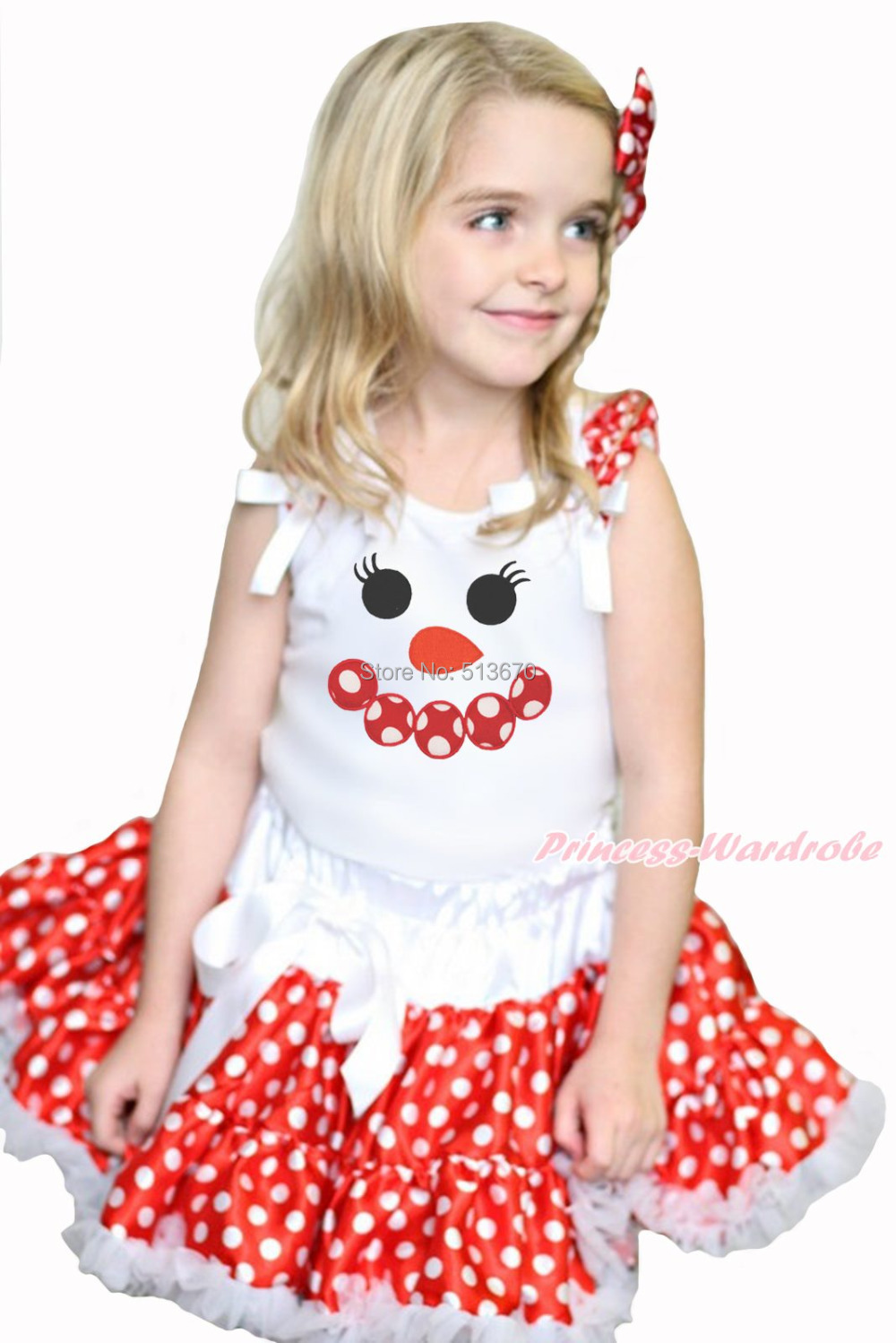 XMAS Minnie Snowman White Top Red White Polka Dots Girl Pettiskirt Set 1-8Year MAPSA0090 xmas leopard minnie dots red pettiskirt with christmas minnie print white long sleeve top with minnie dots lacing mamw413