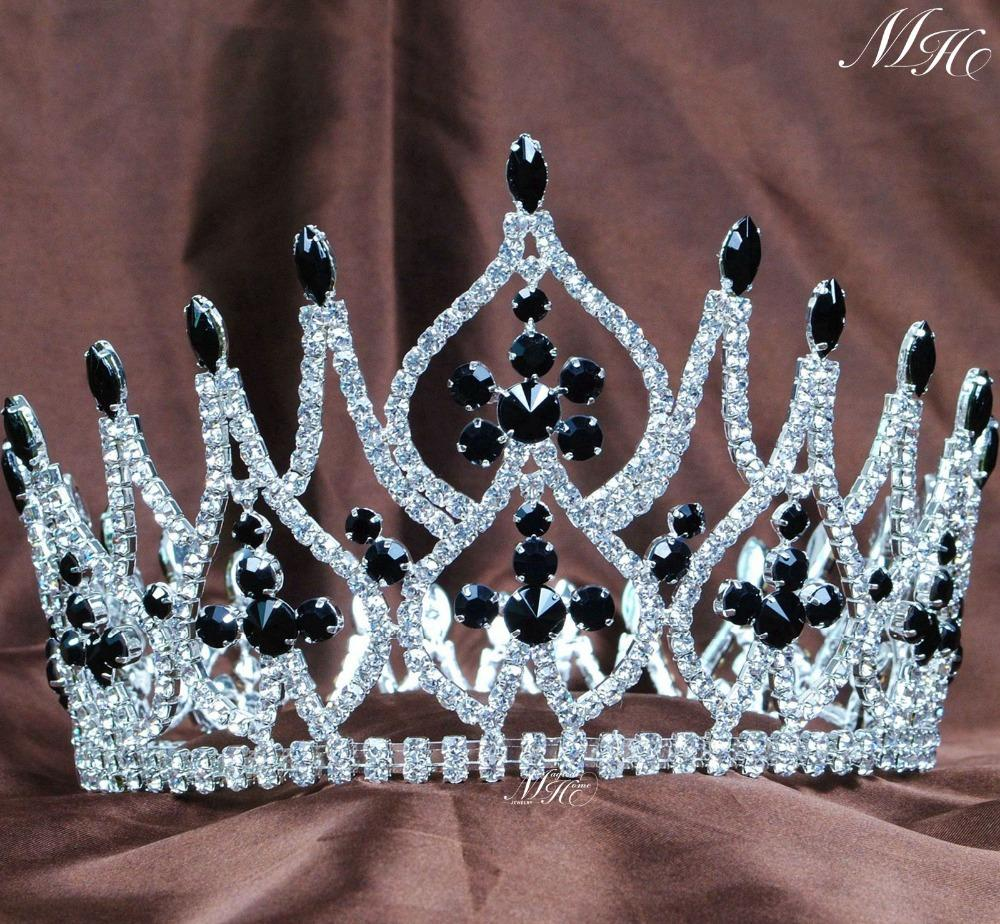 Crowns full circle round tiaras rhinestones crystal wedding bridal - Incredible Wedding Bridal Handmade Crowns 4 25 Black Crystal Rhinestones Full Round Hair Piece Beauty Pageant