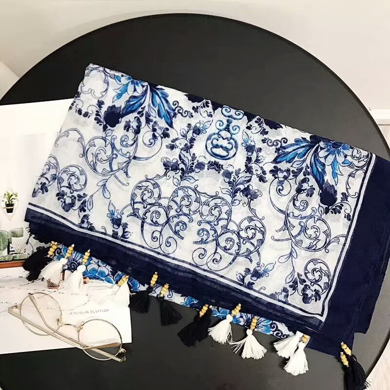Blue And White Porcelain Print Viscose   Scarf   Women Muslim Hijab Head   Scarf   Shawls And   Scarves     Wraps   British Style 10pcs/lot