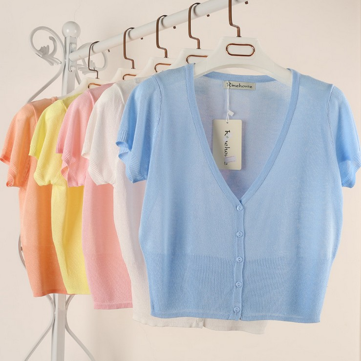 Size M-2XL Summer Spring Women V-Neck Knitted Casual Loose Sweaters Cardigans Lady Short Sleeve Knitting Outwear