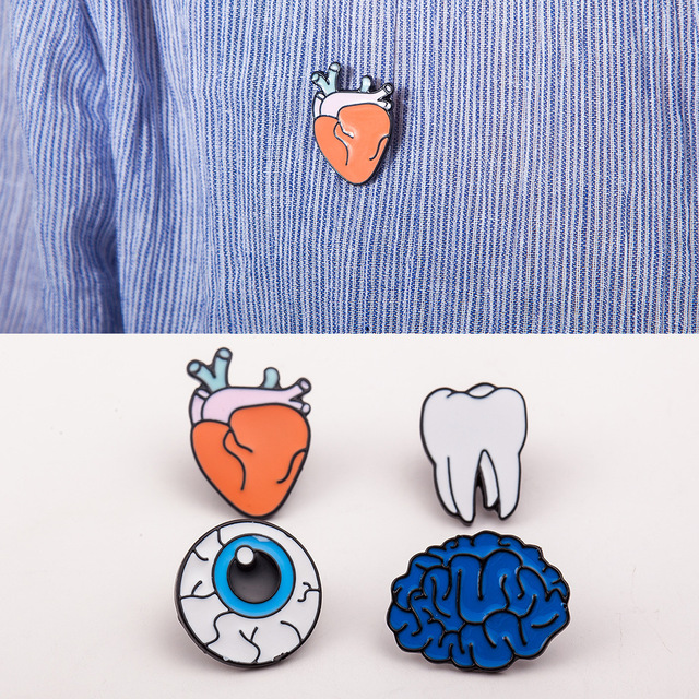 SPINNER 1PC Alloy Enamel Eye Teeth Brain Heart Brooches Pins Human Body  Organs For Womens Jewelry